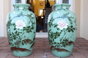LARGE GREEN PORCELAIN VASES C1930  -  SKU198