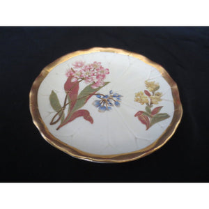 ROYAL WORCESTER FLORAL GILDED PLATE  -  SKU310