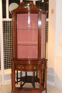 ENGLISH EDWARDIAN MAHOGANY DISPLAY CABINET  -  SKU515
