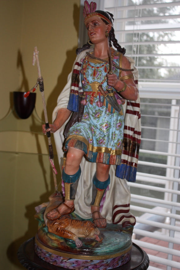 FINE PORCELAIN INDIAN SQUAW FIGURINE  -  SKU373