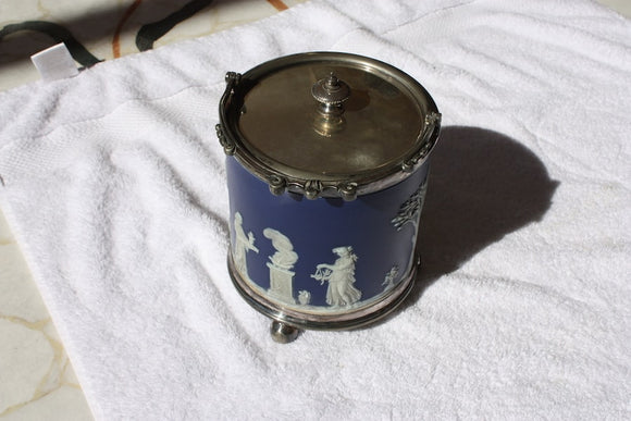 WEDGWOOD BISCUIT BARREL & SILVER PLATED LID  -  SKU396