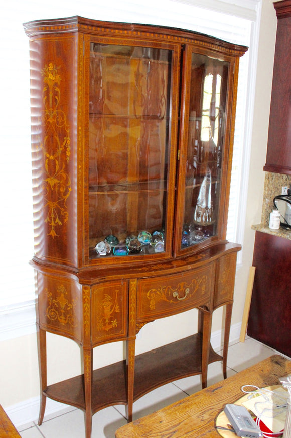 EDWARDIAN INLAID SECRETAIRE DISPLAY CABINET  -  SKU645