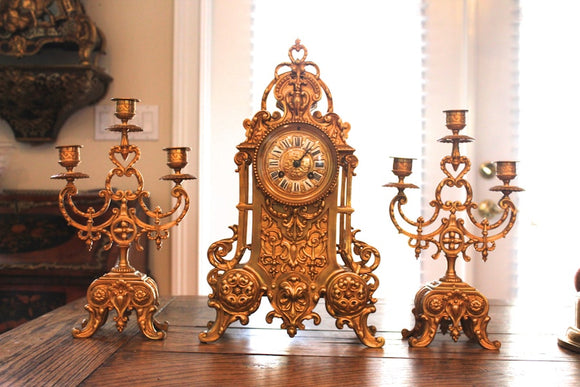 BRASS CLOCK SET  -  SKU712