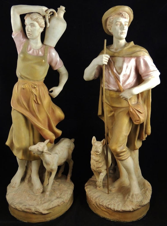 PAIR OF LARGE ANTIQUE ROYAL DUX FIGURES-MAN & WOMAN-SIGNED  -  SKU245