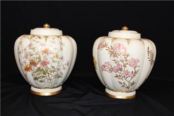 PAIR OF ROYAL WORCESTER LARGE STUART ROSE JAR WITH LIDS  -  SKU318