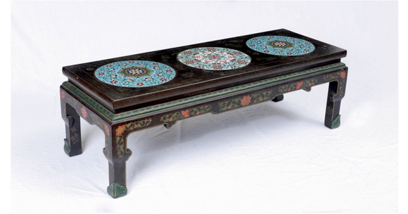 CHINESE COFFEE TABLE WITH 3 CLOISONNE INSERTS - SKU534