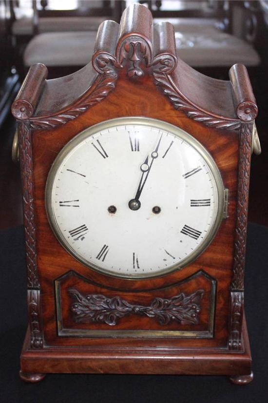 WILLIAM IV MAHOGANY MANTEL CLOCK  -  SKU93