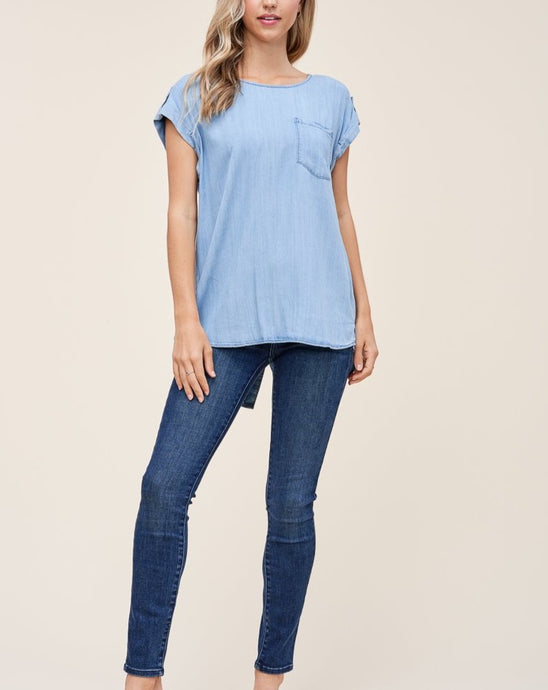 HIGH-LOW BUTTONED DENIM TOP - K&E FASHIONS