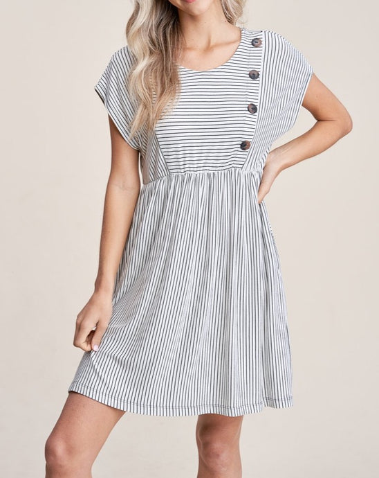 STRIPE BUTTON DRESS - K&E FASHIONS