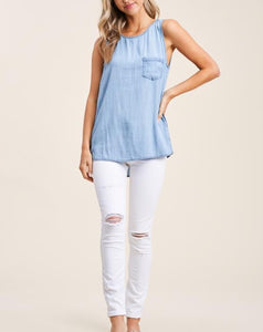 KENNEDY BUTTONED DENIM TOP