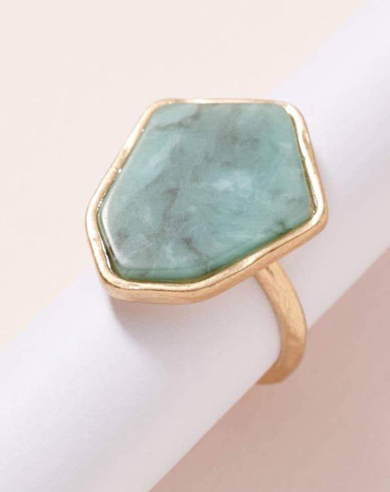 AMAZONITE SEMI PRECIOUS GEMSTONE RING - K&E FASHIONS