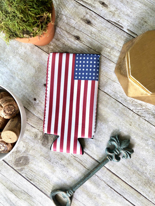 SLIM CAN AMERICAN FLAG KOOZIE - K&E FASHIONS