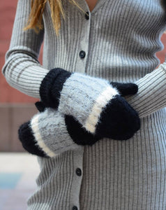 MOHAIR COLOR BLOCK MITTENS