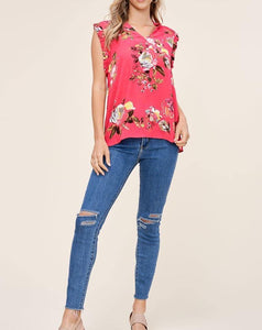 BRIGHT FLORAL & RUFFLE BLOUSE - K&E FASHIONS