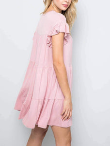 AMY SOLID TIERED DRESS