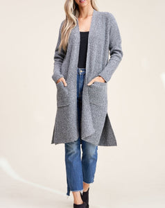 RIBBED LONGLINE DUSTER CARDIGAN - K&E FASHIONS