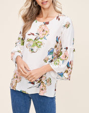 Load image into Gallery viewer, FLORAL RUFFLE BELL SLEEVE BLOUSE - K&E FASHIONS