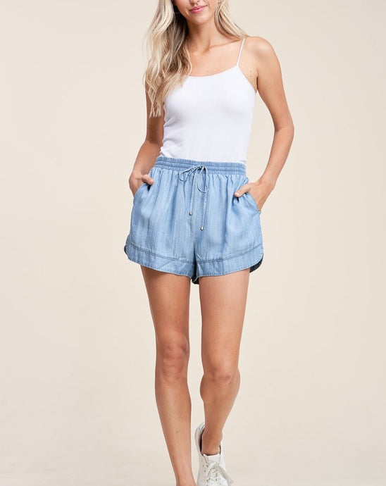 ELASTIC WAIST DENIM SHORTS - K&E FASHIONS