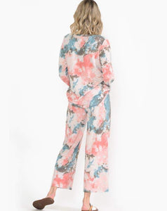 PEACHIE TIE DYE LONG SLEEVE LOUNGEWEAR SET