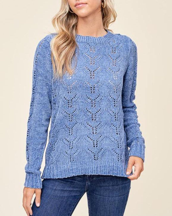 AUDREY CHENILLE HOLE-KNIT SWEATER