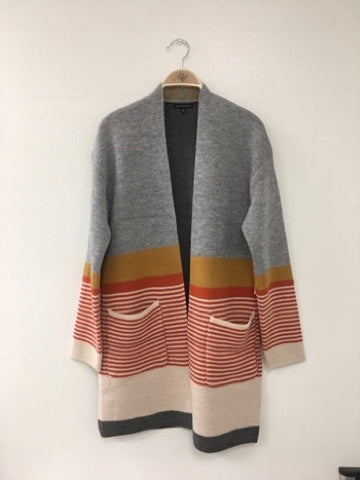 STRIPE COLOR BLOCK CARDIGAN - K&E FASHIONS