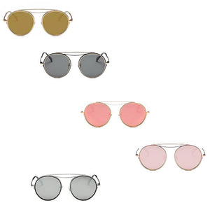 POLARIZED CIRCLE ROUND BROW-BAR FASHION SUNGLASSES - K&E FASHIONS
