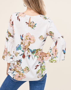 FLORAL RUFFLE BELL SLEEVE BLOUSE - K&E FASHIONS
