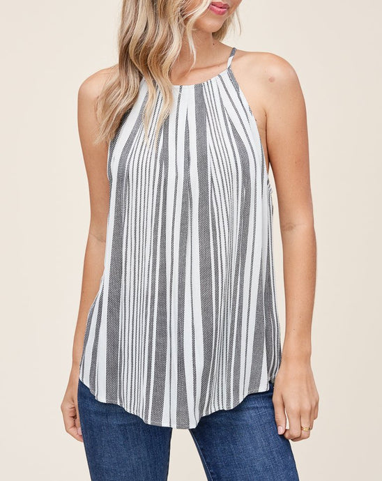 VARIEGATED STRIPE HALTER-BUTTON TOP - K&E FASHIONS