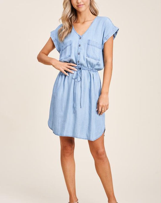 DENISE DRAWSTRING DENIM DRESS