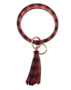 BUFFALO PLAID KEY RING BRACELET WITH TASSEL
