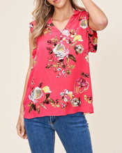 Load image into Gallery viewer, BRIGHT FLORAL & RUFFLE BLOUSE - K&E FASHIONS
