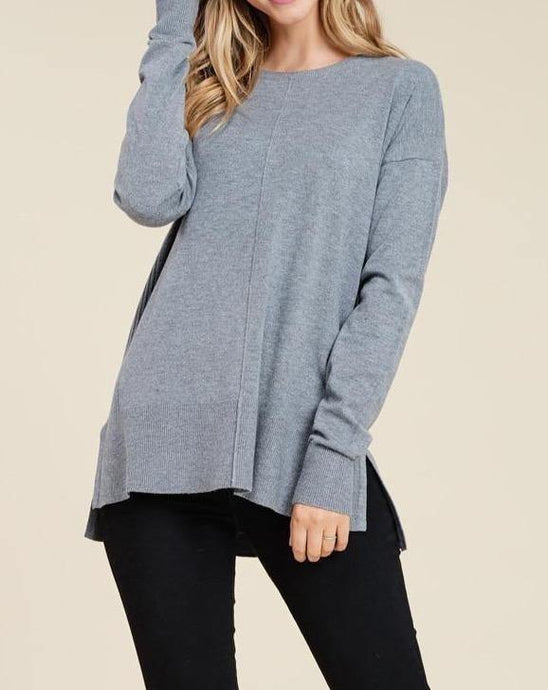 CENTERED SEAM SWEATER - K&E FASHIONS
