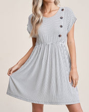 Load image into Gallery viewer, STRIPE BUTTON DRESS - K&E FASHIONS