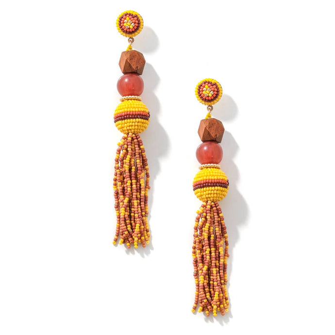 TIERED BEADED TASSEL DROP EARRINGS - K&E FASHIONS