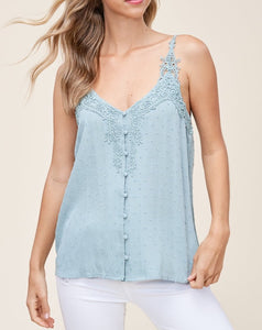 CROCHET SWISS-DOT BUTTON TANK TOP - K&E FASHIONS