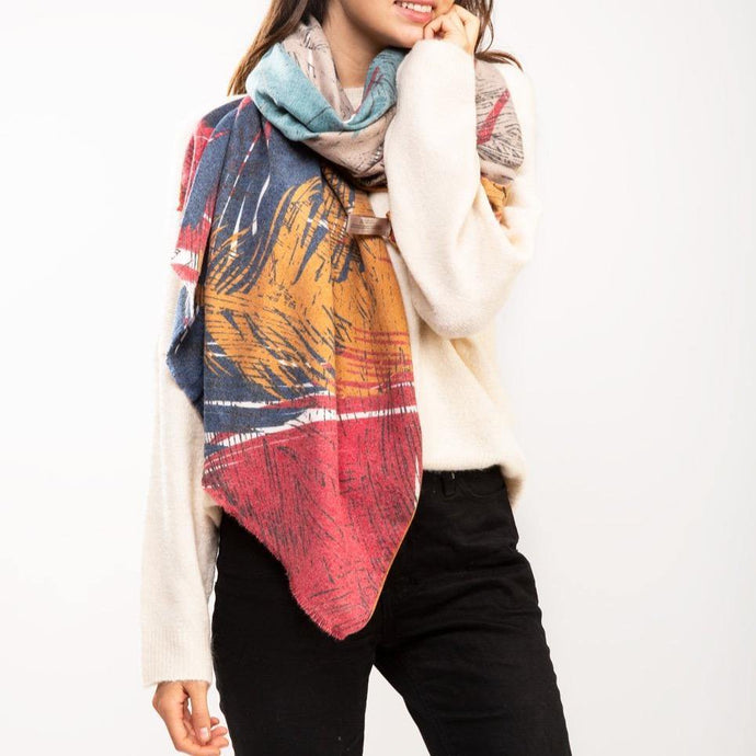 CASHMERE FEATHER PRINT SCARF - K&E FASHIONS