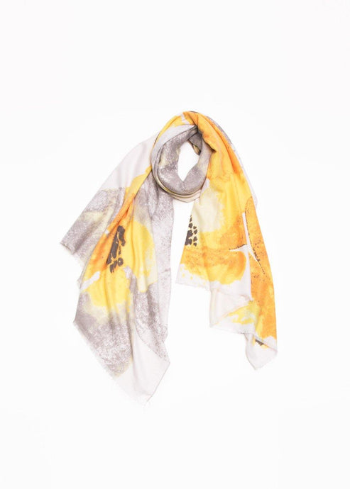 CASHMERE FLORAL WATERCOLOR SCARF - K&E FASHIONS