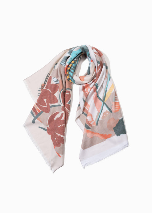 CASHMERE FLORAL PAINTING SCARF - K&E FASHIONS