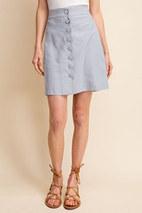 JANE SCALLOPED BUTTON DOWN SKIRT - K&E FASHIONS