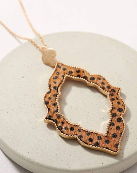 ANIMAL PRINT CALF HAIR LONG PENDANT NECKLACE - K&E FASHIONS