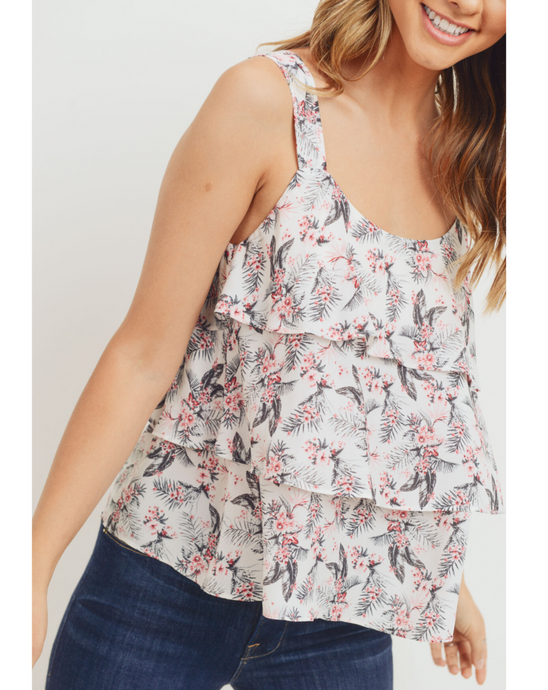 TROPICAL PRINT TIERED TANK TOP