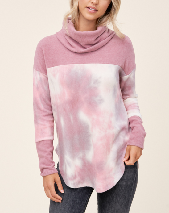 HARPER TURTLE NECK TIE DYE SWEATER