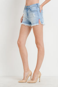 HIGH RISE SIDE-SLIT DENIM SHORTS - K&E FASHIONS