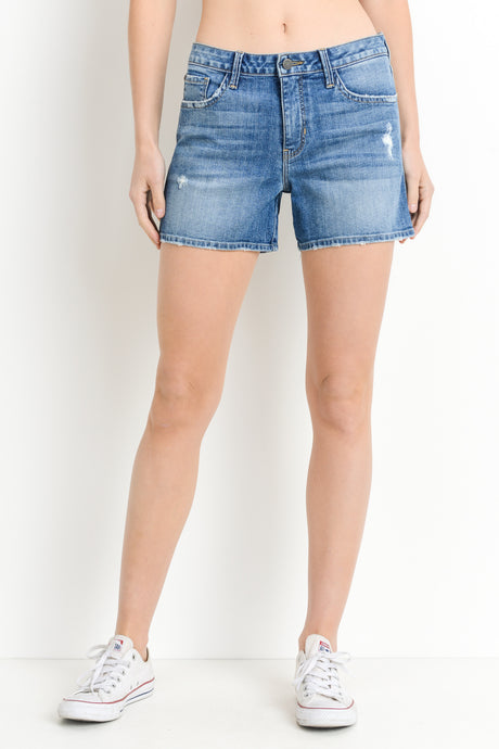 HIGH RISE FRAYED DENIM SHORTS - K&E FASHIONS