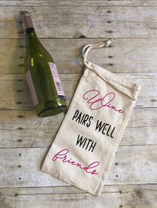WINE & FRIENDS CANVAS DRAWSTRING WINE BAG - K&E FASHIONS