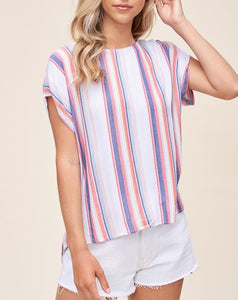 STRIPED HIGH-LOW BUTTONED TOP - K&E FASHIONS