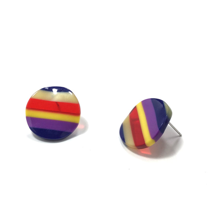 ROUND RAINBOW STUD EARRINGS - K&E FASHIONS
