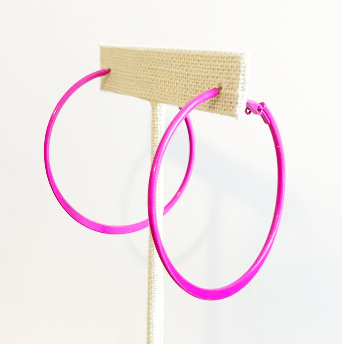 NEON PINK HOOP EARRINGS - K&E FASHIONS