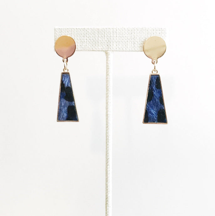 BLUE LEOPARD PRINT DROP EARRINGS - K&E FASHIONS