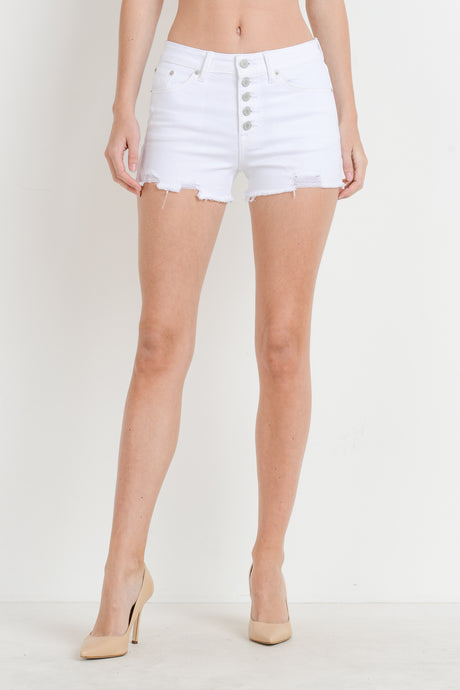 HIGH RISE BUTTON FRAYED HEM DENIM SHORTS - K&E FASHIONS